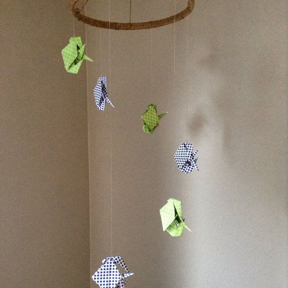 Custom baby mobile origami mobile fish or bird by TheEmeraldRhys