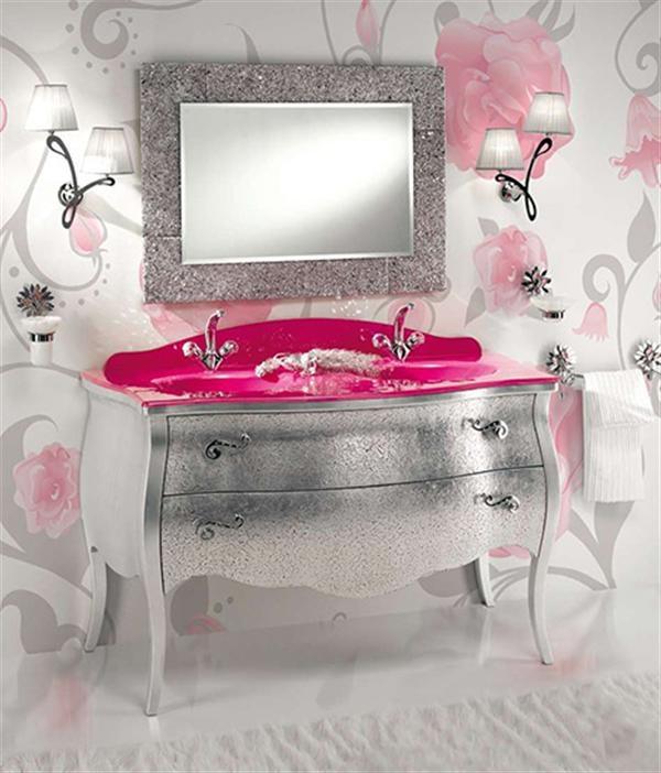 70 Inspiring Feminine Bathroom Design: 70 Inspiring Feminine Bathroom  Design With Floral Wall Painting And Washbasin And Silver And Ceramic Floor  And Rug