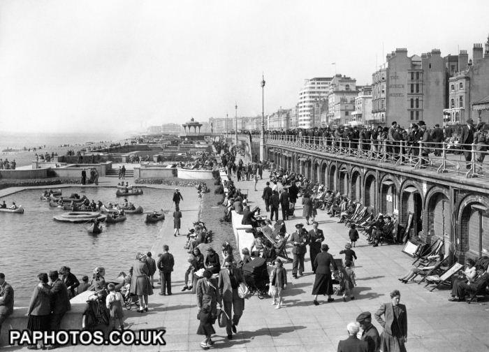 The West Pier boating lake at Brighton1946 - in the austere 50s we siblings couldn't afford to go on a boat but adjacent were free Punch & Judy shows