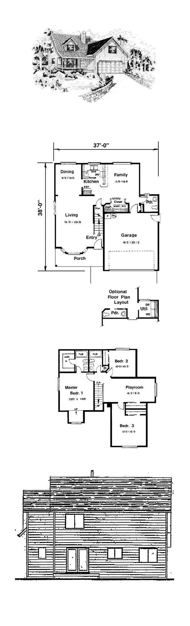 Saltbox House Plan 91055 | Total Living Area: 1766 Sq. Ft., 3