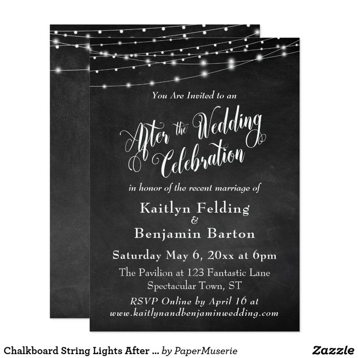 "Chalkboard String Lights After Wedding Celebration Card This sophisticated but rustic wedding reception card features a textured chalkboard background image overlaid depicting strings of white twinkling light strings. I've added an elegant, swirling script font from my collection to render graphics depicting the words ""After the Wedding Celebration""; on the back I've placed the word ""love"". Your personal details are easily added for customizing this template as little or much as you wish…"