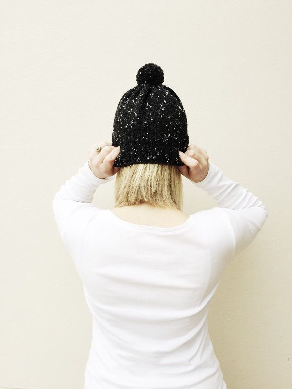 Black Knit Hat with Pom Pom Fall Winter hat Natural by VeraJayne