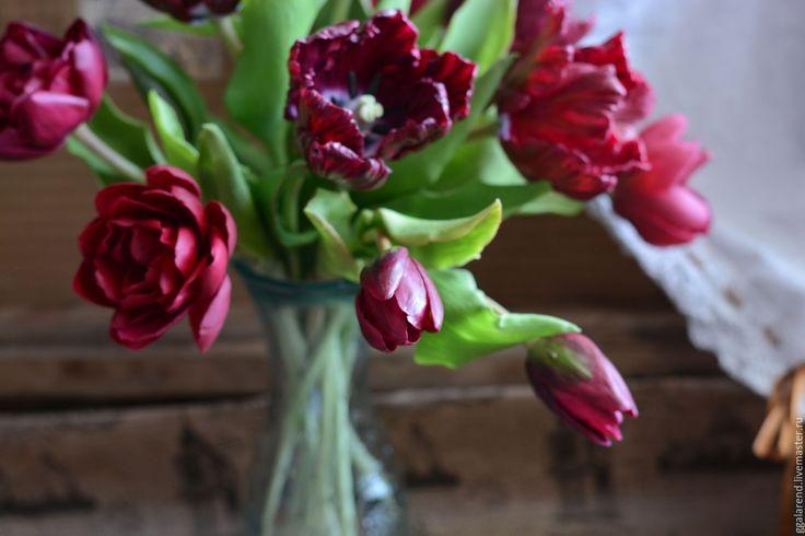 """Купить Букет из глины""""Марсала"""" - бордовый, тюльпаны, скабиоза, интерьерная композиция, интерьерный букет, бордо, марсала"""