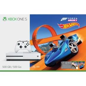 Race and customize hundreds of cars in an open world on Xbox One S<br><br>Own the Xbox One S Forza Horizon 3 Hot Wheels Bundle (500GB), featuring a full-game download of racing favorite Forza Horizon 3 including the best-selling Hot Wheels expansion, and an Xbox wireless controller. Drive, explore, and race all over Australia in more than 350 of the world's greatest cars. Experience the highest rated, best-selling racing franchise of this generation on the only console w...
