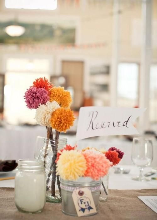 DIY Yarn Crafts : DIY Crafts: How to make yarn poofball wedding decor in three easy steps