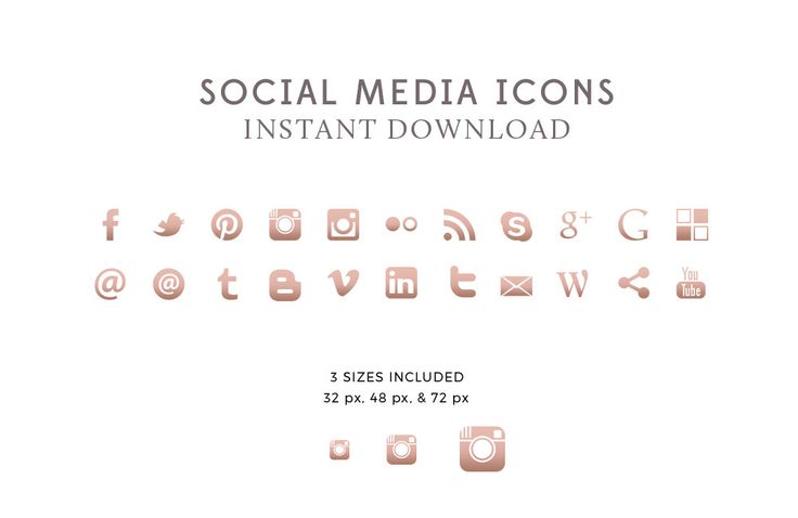 Rose Gold Social Media Icons & Buttons - Premade Social Media Icons - Blog Design - Website Icons - PNG - INSTANT DOWNLOAD by ByStephanieDesign on Etsy