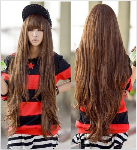 New Godiva Super Long Lolita Full Natural Wavy Kanekalon Heat Resistant Hair Wig Brown Wigs >>> See this great product.