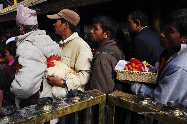 Pilgrims queuing at Dakshinkali temple, Pharping