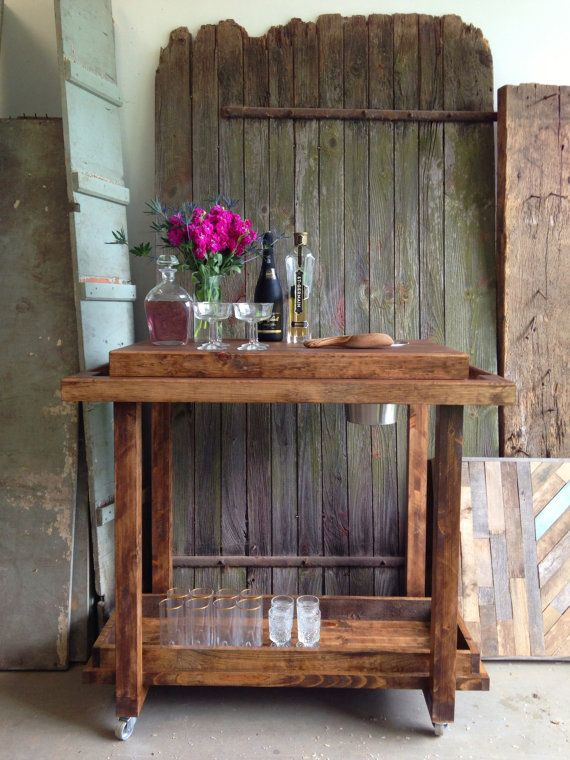 Rustic Bar Cart Trolley Storage on Casters by newantiquity on Etsy New Antiquity Cocktail Beverage Tray Sideboard entertaining mixologist mixology