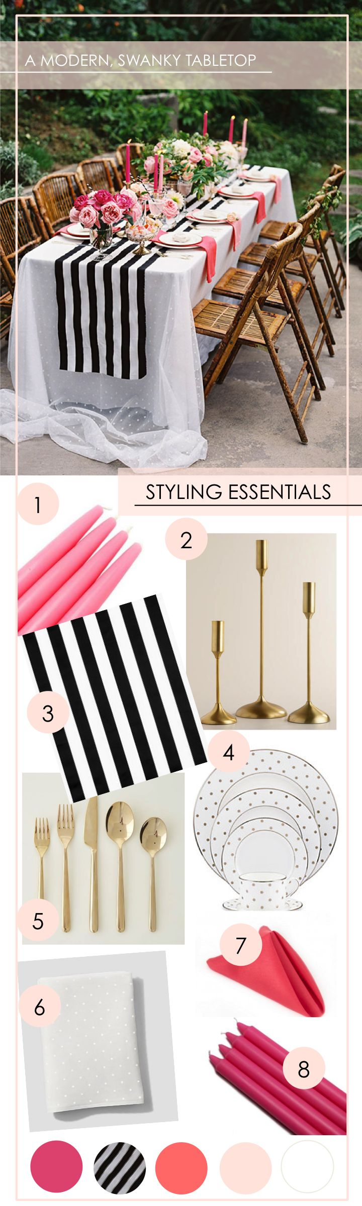 Get the Look: A Modern + Swanky Tabletop - www.theperfectpalette.com - Shades of Pink + Black and White Stripes