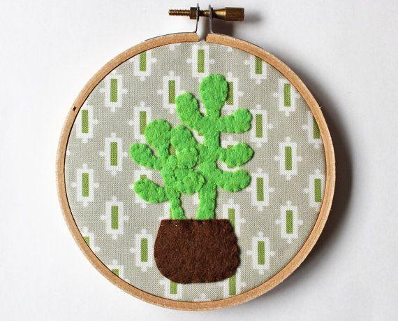 Cactus parete arte ricamo hoop arredamento casa cactus di oktak
