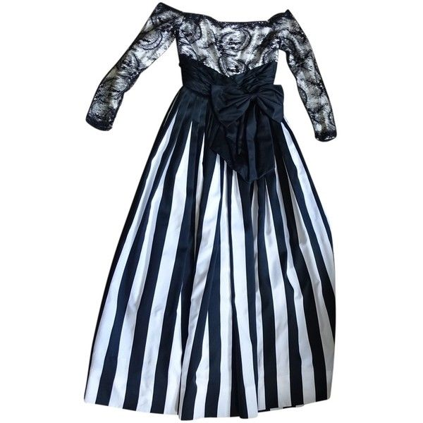 Pre-owned Victor Costa Black And White Dress ($147) ❤ liked on Polyvore featuring dresses, black and white, black white cocktail dresses, black and white stripe dress, black and white lace dress, lace cocktail dress and white and black dress