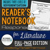 Reader's Notebook Response Pages for Literature *FULL-PAGE SET*