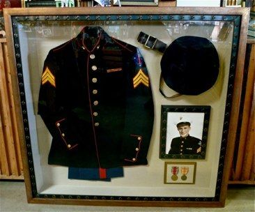 From Billy Childress Picture Frames, Fort Worth, Texas - custom shadowbox with WWII military uniform, medals, and vintage photograph - display your family heirlooms.