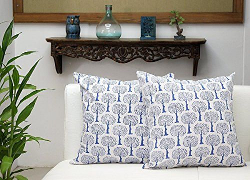 Sleeper Sofas Cotton Set of Cushion Covers for Sofa x Blue and White Throw Pillow Case with Block Printed Tree Design Home Decor Top Decorative Pillows