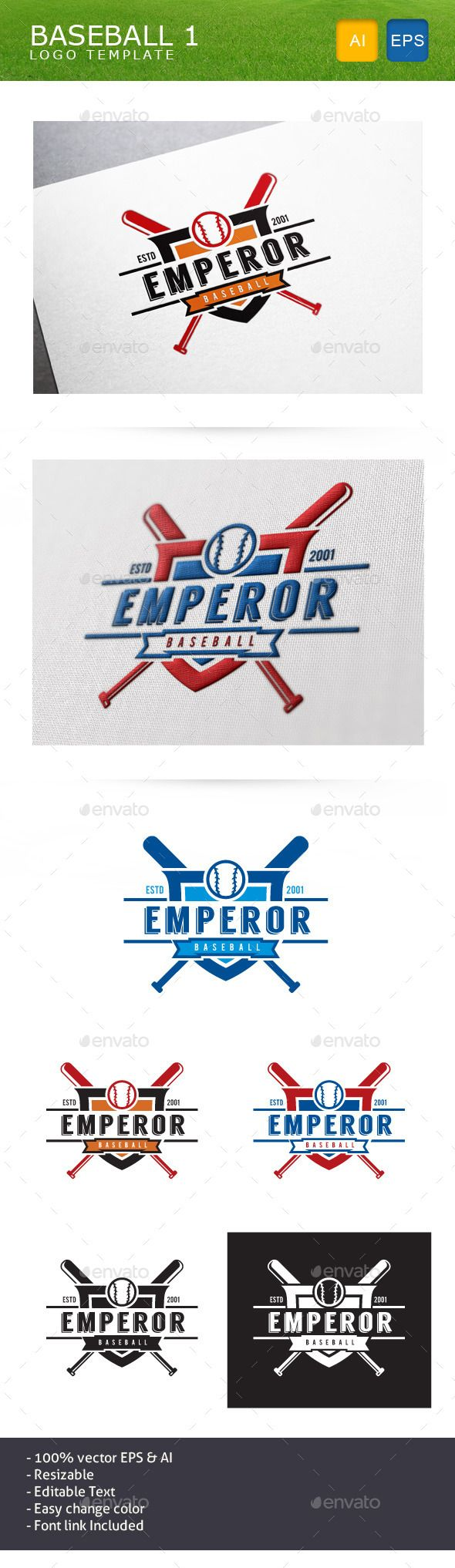 Baseball Team - Logo Design Template Vector #logotype Download it here: http://graphicriver.net/item/baseball-team/10999311?s_rank=670?ref=nexion