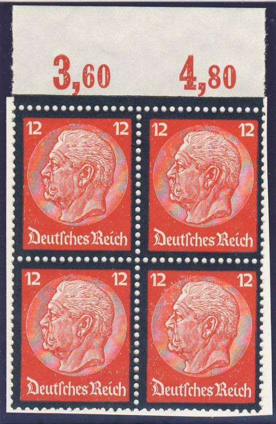 Germany, German Empire, Deutsches Reich 1934, Hindenburg Trauer, 12 Pfg. im Plattendruck-Oberrand-4er-Block, postfrisch Pracht (postfr., Mi.-Nr.552 P/Mi.EUR 224,--). Price Estimate (8/2016): 35 EUR.