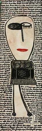 'Cajas Finitas 2 (Finite boxes 2)' by Argentine painter Milo Lockett. Paint on wood, 90 x 30 cm. via Arte-online