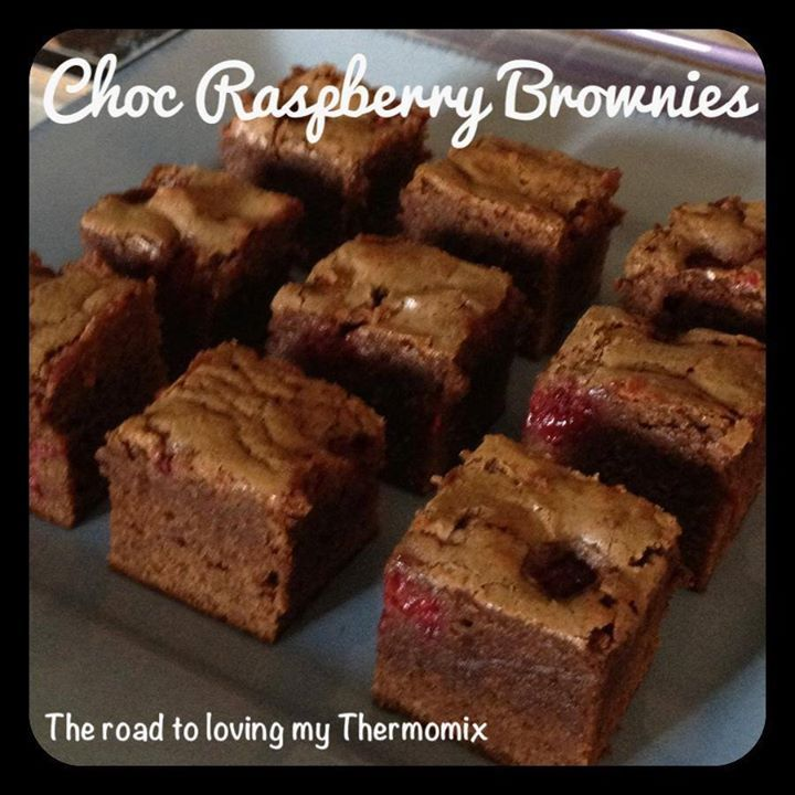 Choc Raspberry Brownies - 250g butter, diced 200g dark chocolate, chopped 200g brown sugar 2 teas vanilla bean paste 4 eggs 210g self raising flour, sifted 60g cocoa powder, sifted 100g raspberries, fresh or frozen