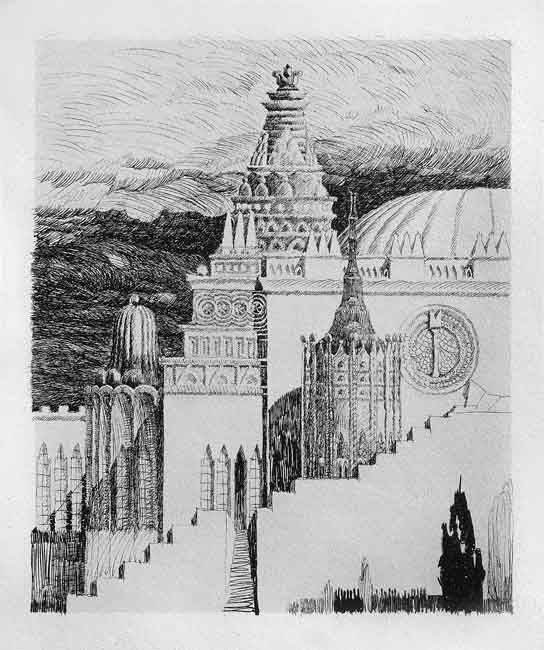 """""""Indian Movie Scenery,"""" pen and ink architectural design by Hungarian Moric Pogany for his book of 50 drawings, """"Dreams of an Architect."""" Published in 1926, the book had a foreword by Max Reinhardt. Editions were printed in Hungarian, English, and German."""