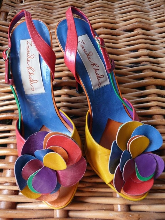 Vintage 70s80s Zandra Rhodes multicoloured shoes small by TinTrunk