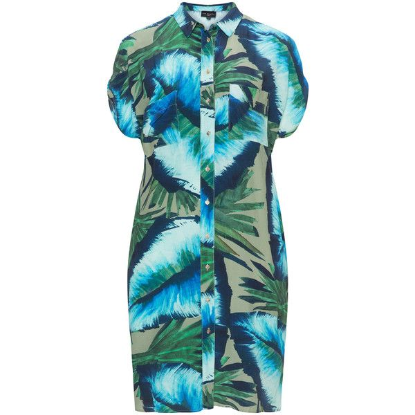 Live Unlimited London Khaki-Green / Blue Plus Size Printed cold... ($67) ❤ liked on Polyvore featuring dresses, plus size, women plus size dresses, palm print dress, cold shoulder dresses, blue shirt dress and plus size green dress