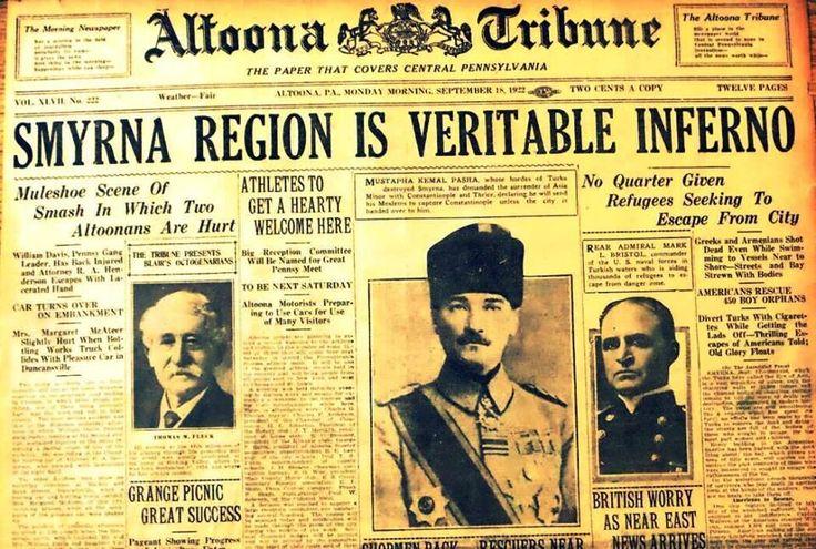 """18 Eylül 1922 tarihli bir Amerikan gazetesinin İzmir'le ilgili ilk sayfası: Manşette """"İzmir gerçek bir cehennem"""" yazıyor. Yan tarafta, Amerikan gemilerinin kaçanları kurtarmaya çalıştığı anlatılıyor. Ortada, """"Yağmacılarıyla İzmir'i harap eden Mustafa Kemal Paşa; Küçük Asya, İstanbul ve Trakya kendisine teslim edilmezse adamlarını gönderip İstanbul'u zaptedeceğini ilan etti."""" Ve altta; """"İngilizler endişeli.. Kemal Trakya ile ilgili ültimatom verdi, müttefiklerin uyarılarını elinin tersiyle…"""