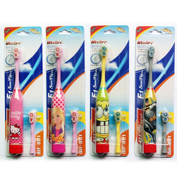 2pcs combination Cute Children Electric Ultrasonic Toothbrush Care Oral Hygiene Cartoon toothbrush For Kids as gift for child