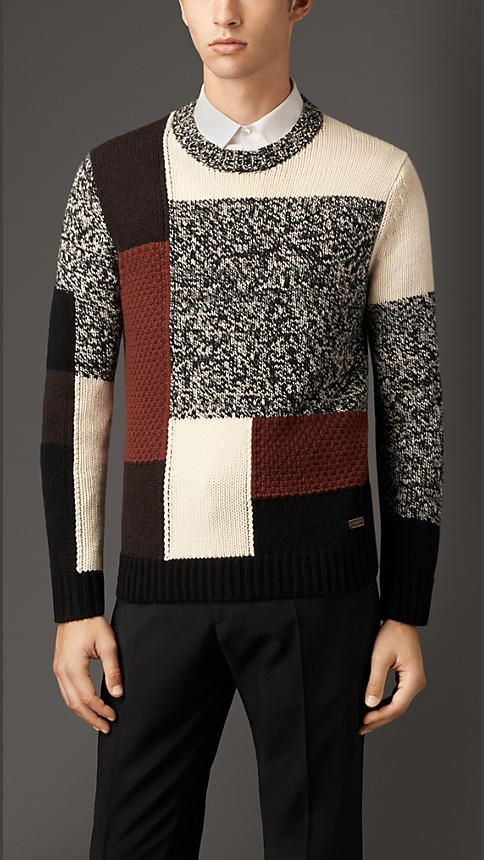 Burberry London Chunky Knit Wool Cashmere Check Sweater