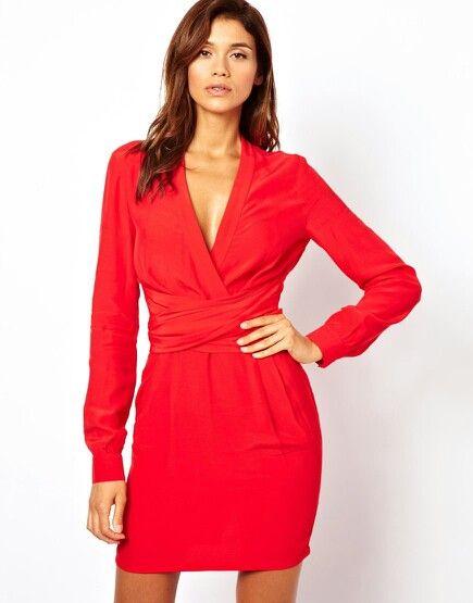 Vestido rojo cruzado- visto en asos