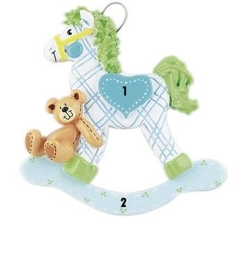 Hojdací koník modrý vianočný ornament 1. Vianoce