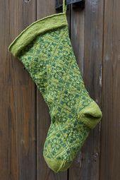 Fleur de Noel color work Christmas stocking knitting pattern