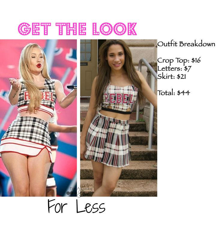 Iggy Azalea fashion and style Get the Look for Less | For A Lucky Girl cheerleading outfit, fancy video, rebel cheerleader, fall fashion, back to scho…