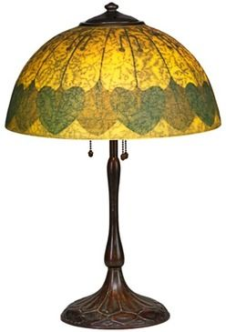 Connecticut, Rare Handel table lamp, its shade with stylized leaves and buds, Meriden, Connecticut. Obverse and reverse painted acid-etched glass, patinated metal, three sockets. Shade marked U.S. Patent No. 979664 and Handel 5468, base stamped Handel. Circa 1901-1920