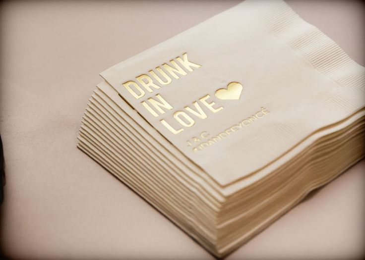 Drunk in Love, Pink and Gold Wedding Napkins | Beyonce Inspired Wedding