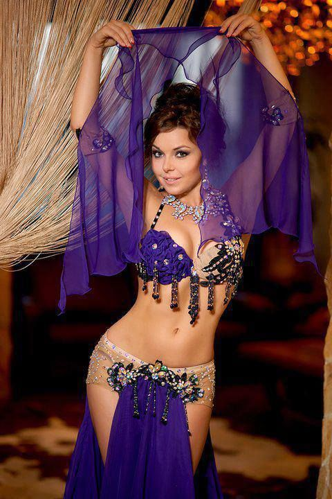 Purple belly dance costume.