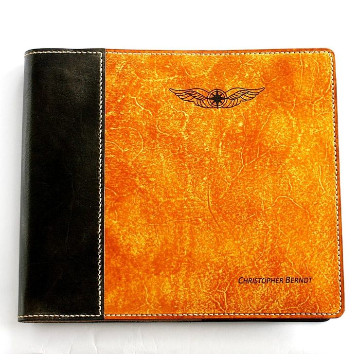 FREE Overseas shipping. Personalised, hand made pilot logbook cover 100% leather with name and pilots wings. Custom made to order. Add on options locking pen holder, snap closure, single pen holder, credit card sized licence pocket. Hand crafted by Fiona Ritchie for Sparrowhawk Leather New Zealand.