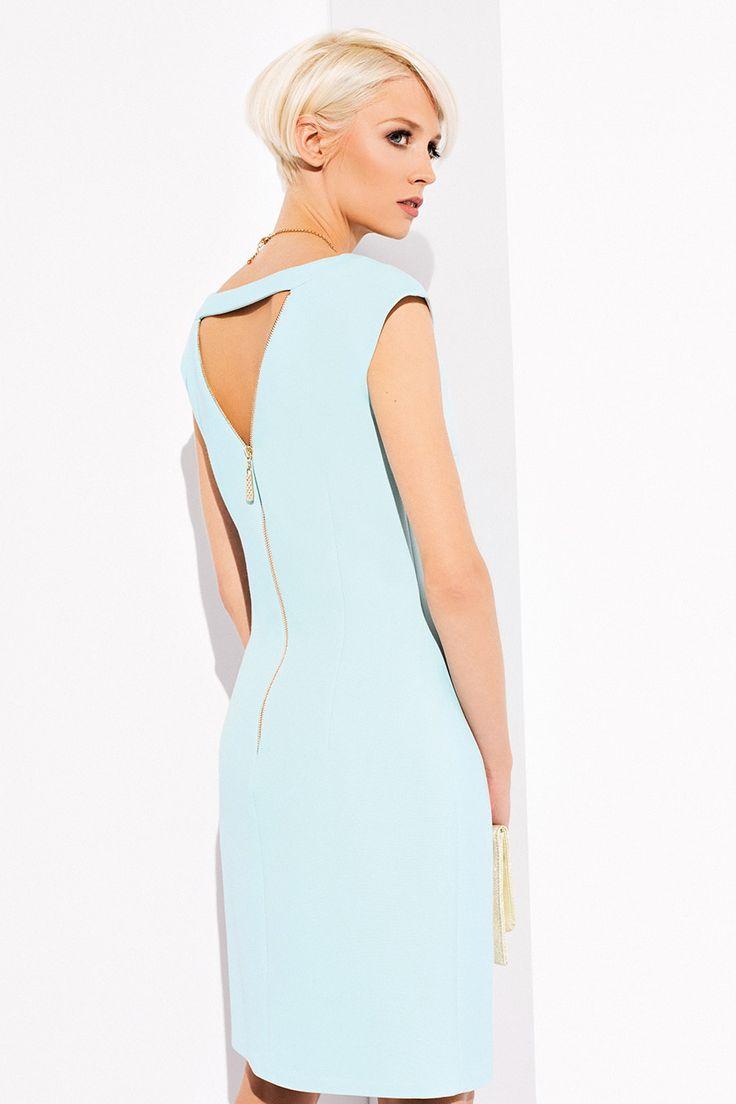 ПЛАТЬЕ KORA Женское приталенное платье полуооблегающего покроя с декоративной молнией сзади, и декоративным вырезом на спинке.