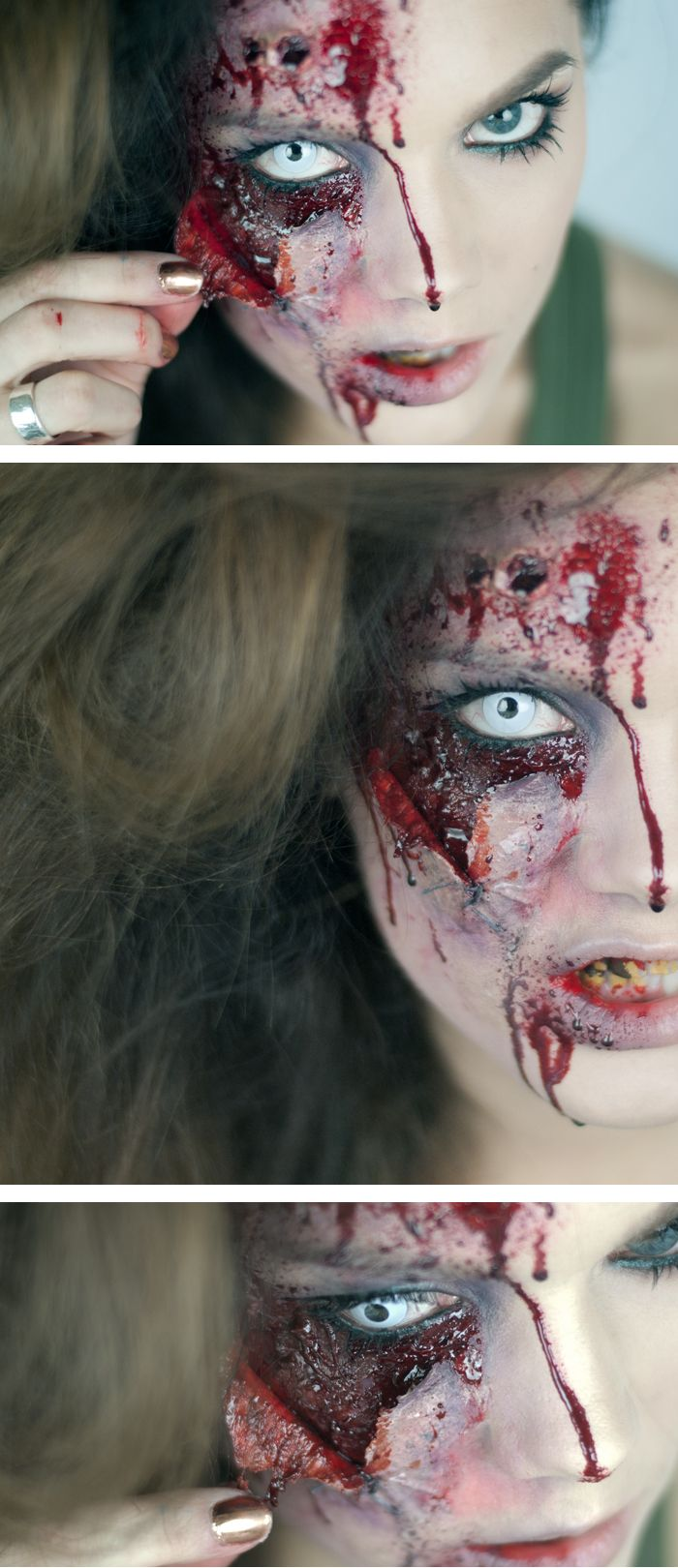 Love this pealed skin effect. To begin with it almost appears as though the model has been injured or in an accident then in the second image it appears as though she may be a daemon or vampire. This is a look i will be creating within my group image of a zombie apocalypse.