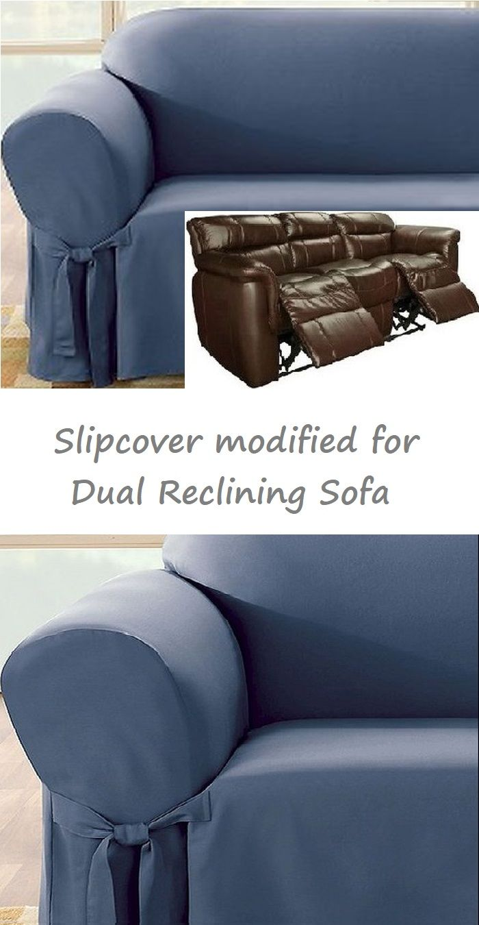 Dual Reclining Sofa Slipcover Blue Cotton Sure Fit Recliner Couch