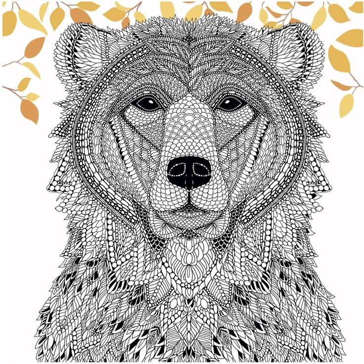 color a bear from the menagerie free adult coloring page craftfoxes art design. Black Bedroom Furniture Sets. Home Design Ideas