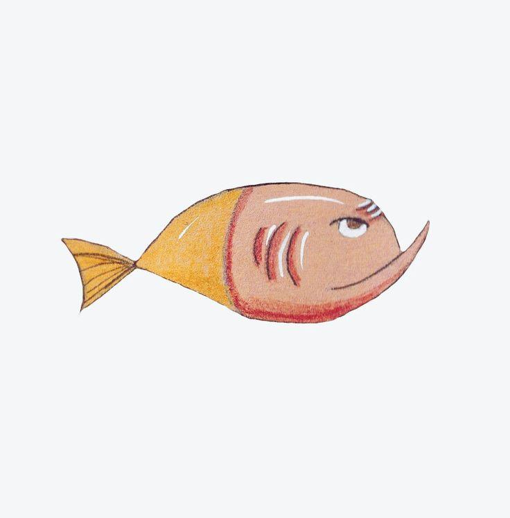 Жёлт-розовая рыбка акварелью #иллюстрация #art #рыба  #fish #watercolor #watercolour #yellow #illustration #illustrator #pink
