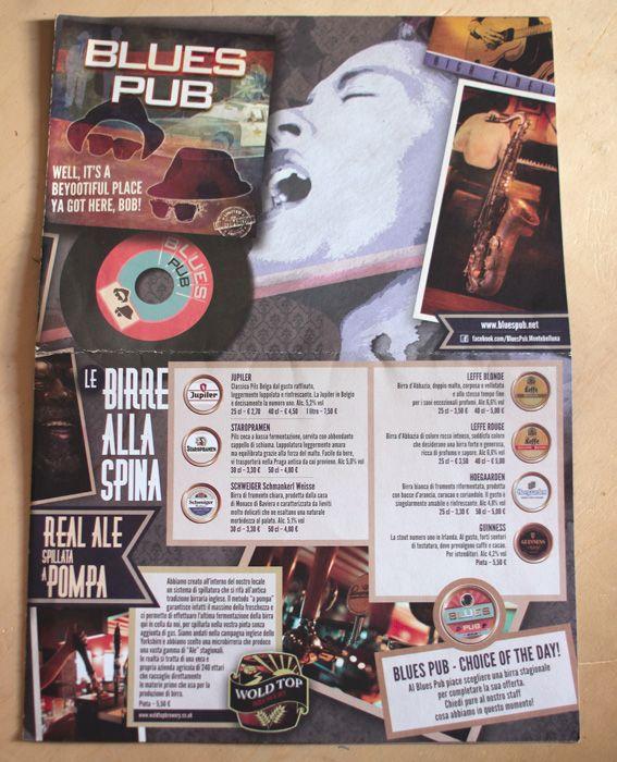 Blues Pub menu - front