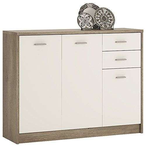 M�bel to go 4�You 3-T�rer 2�Schubladen Breit Schrank mit Melamin, 109�x 86�x 35�cm�-�parent Canyon Grey/ Pearl White