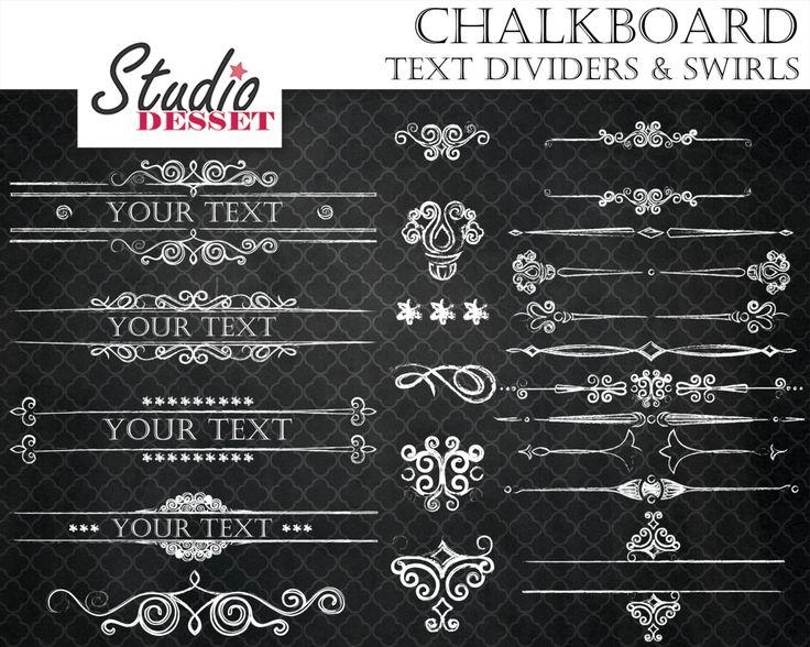 Chalkboard Text Dividers and Swirls, Wedding Frames, Calligraphy Clipart Set, Elegant Headers, Digital  Borders, Invitation Frames, C217 by StudioDesset on Etsy