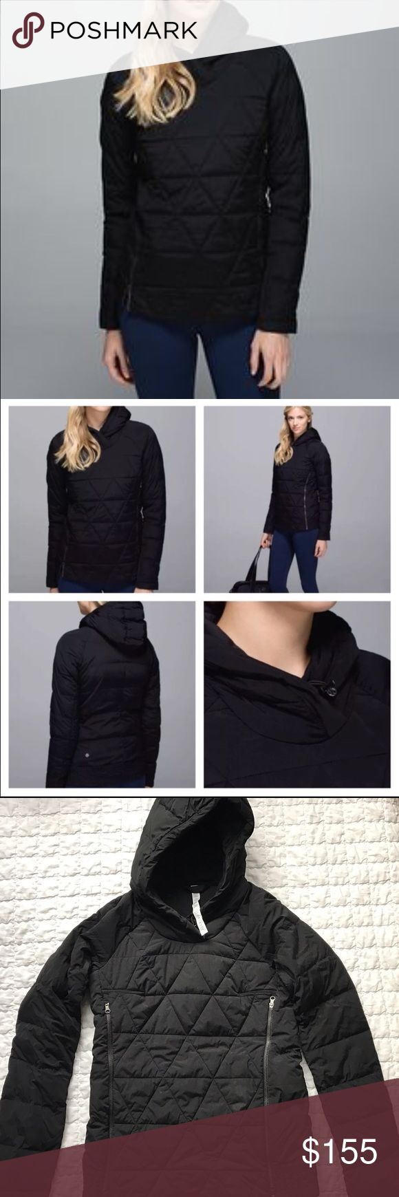 Lululemon puffed pullover jacket Perfect condition, no stains or rips! Only worn once around the house for few hours. Black size 4 pullover with zippers that you can open up for air. (Last pic shows) smoke free home! lululemon athletica Jackets & Coats Puffers