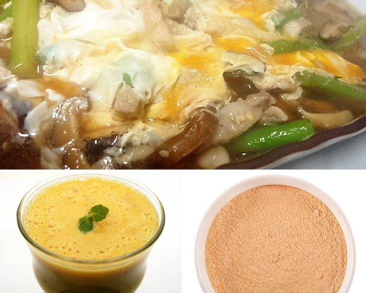 マカ 効能・効果と食べ方   スーパーフード《Super Foods》《 マカパウダーの手軽なお召し上がり方 》 ★独特の風味と苦みの中にほのかな甘みを感じるコクのある味。スムージーやシェイクにブレンドしたり、食材を調和してバランスの良いまろやかな味にしてくれるので、デザートやオーブン料理などにも。  《 マカパウダー 豚ロースとアスパラ椎茸卵とじ 》 ●材料(2~3人分)◎豚ロース肉・・・2枚 ◎アスパラ(さっとゆでたもの)・・・5本 ◎乾燥シイタケ・・・4~6個 ◎マカパウダー・・・小2 ◎卵・・・3個 ◎めんつゆ・・・50cc ◎水・・・200cc ◎砂糖・・・小2 ◎酒・・・大1 ◎油・・・大1  《 マカパウダー 簡単オレンジスムージー 》 ●材料(1人分)◎豆乳・・・50ml ◎みかん・・・1個 ◎リンゴ(皮ごと、予め冷凍)・・・1/2個 ◎マカパウダー・・・小さじ2/3 ◎レモン汁・・・小さじ2