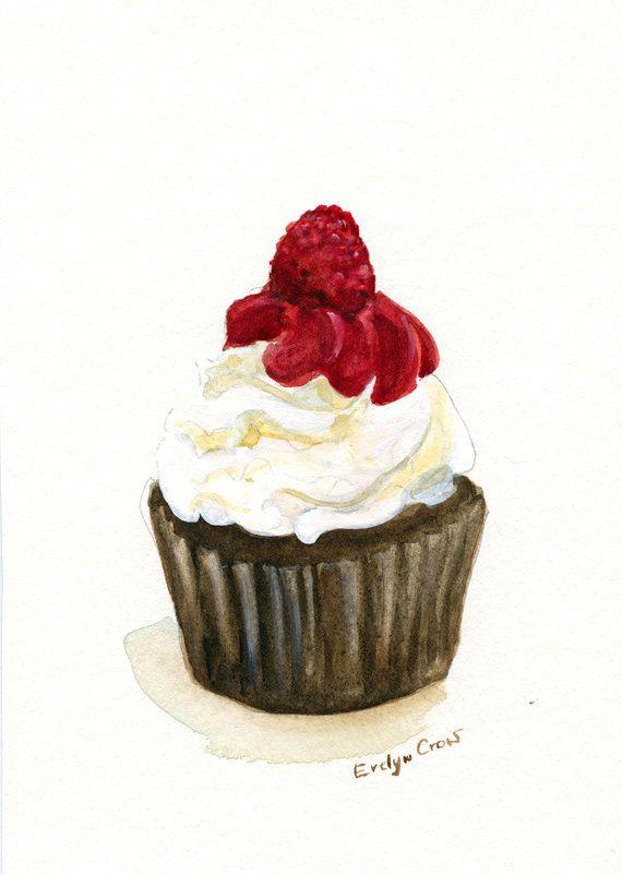 chocolate, cream and raspberry cupcake illustration