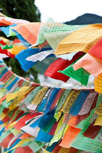 Tibetan prayer flags. The movement of the wind sends the prayers out into the universe.