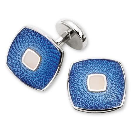 Enamel sky guilloche square cufflinks | Men's cufflinks from Charles Tyrwhitt, Jermyn Street, London